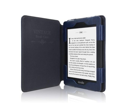 Vintage book Kindle 2019 cover with leather frame
