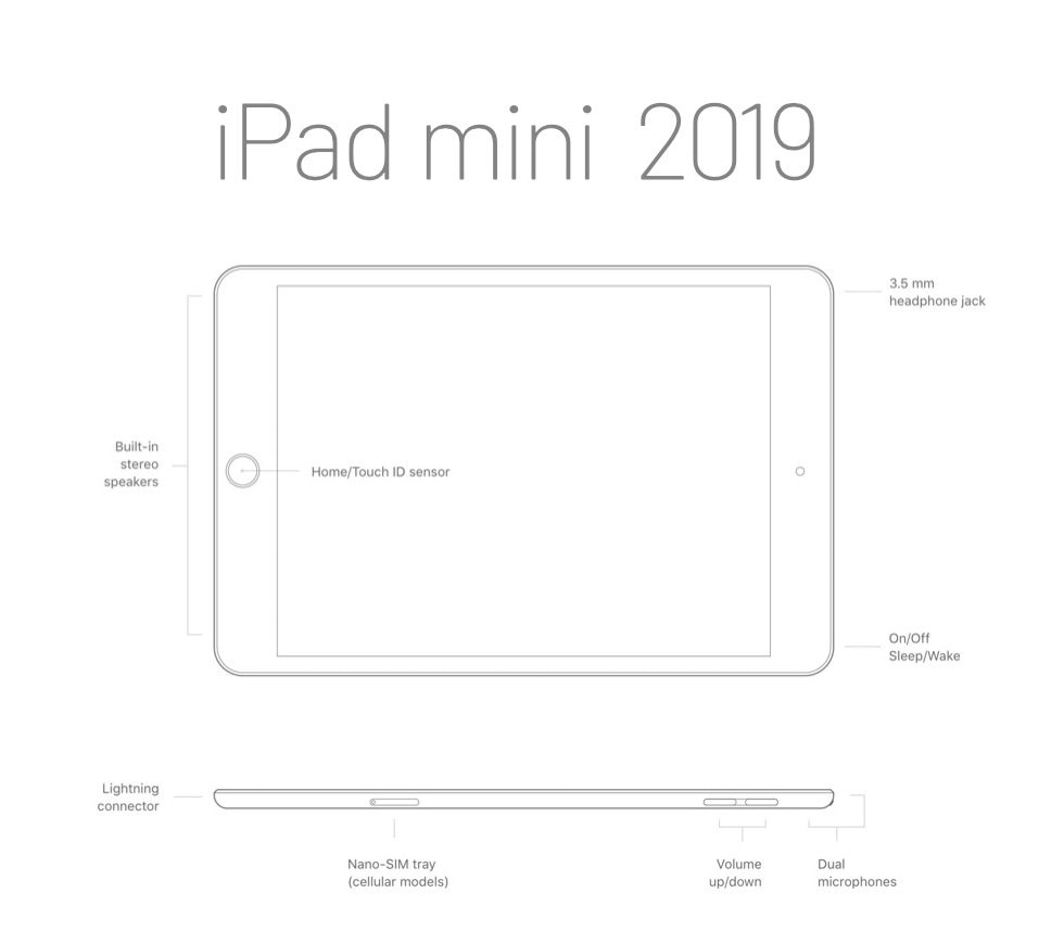 Apple iPad mini 2019 release - buttons and connectors