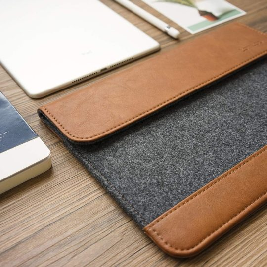 Leather iPad Sleeve with Strap in Whiskey Leather tablet case Vertical ipad brown leather sleeve Minimalist leather ipad case
