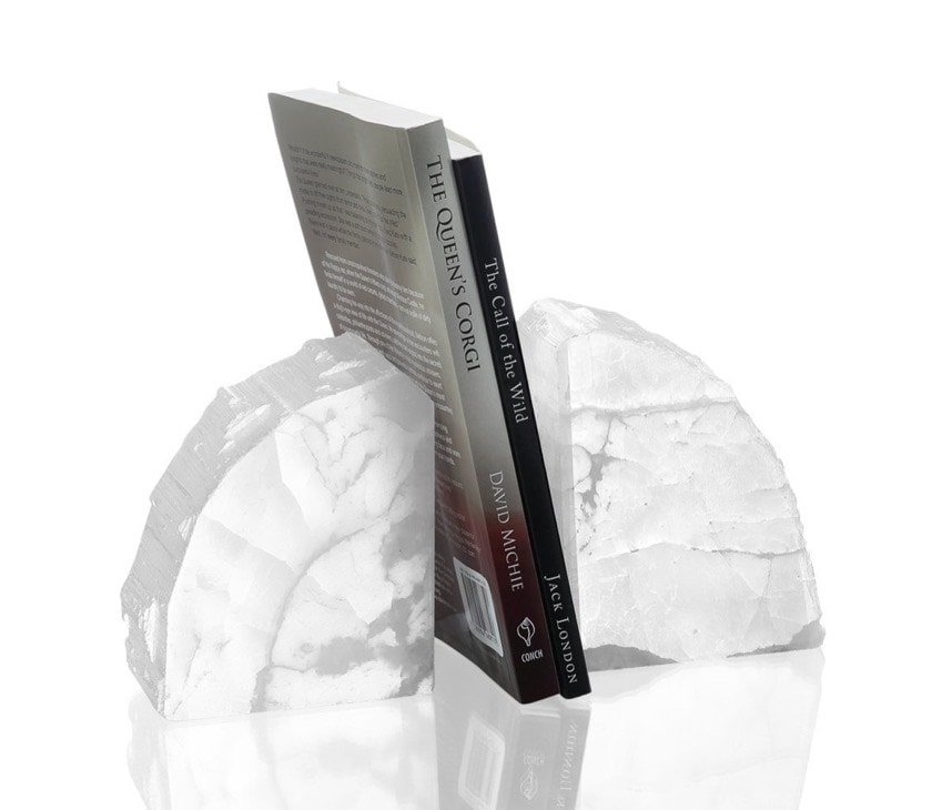 Bookends made of rare white agate