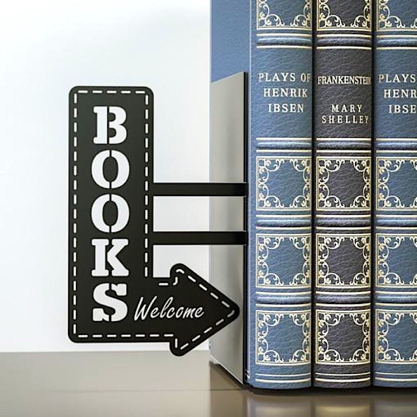 Bookshop welcome sign bookend