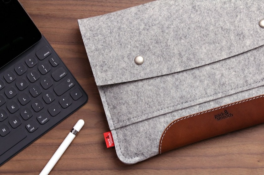 Felt and vegetable tanned leather sleeve for Apple iPad Pro 11