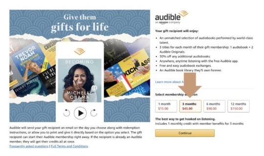 Give the gift of Audible subscription - select the pre-paid plan