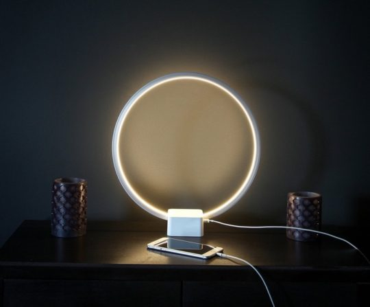 Innovative ring-shaped nightstand lamp and USB charger - gifts for tech-savvy book lovers to gift in 2020