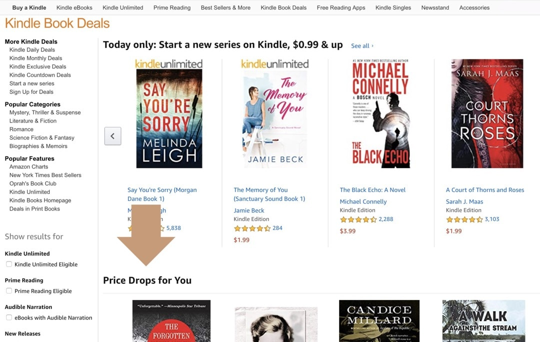 Kindle Price Drops for You - a new section of Kindle Deals