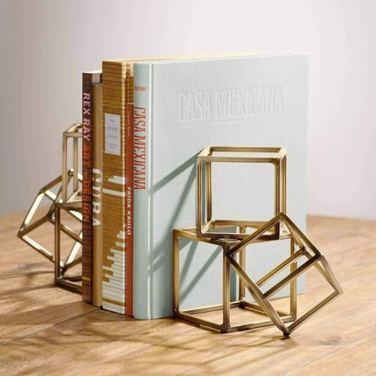 4 Pairs as one pack T-Style Bookends in Metal Sturdy Books Divider Book Stopper
