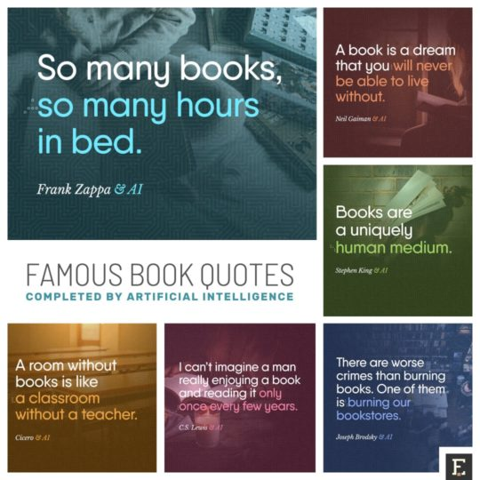 Most famous book quotes completed by artificial intelligence