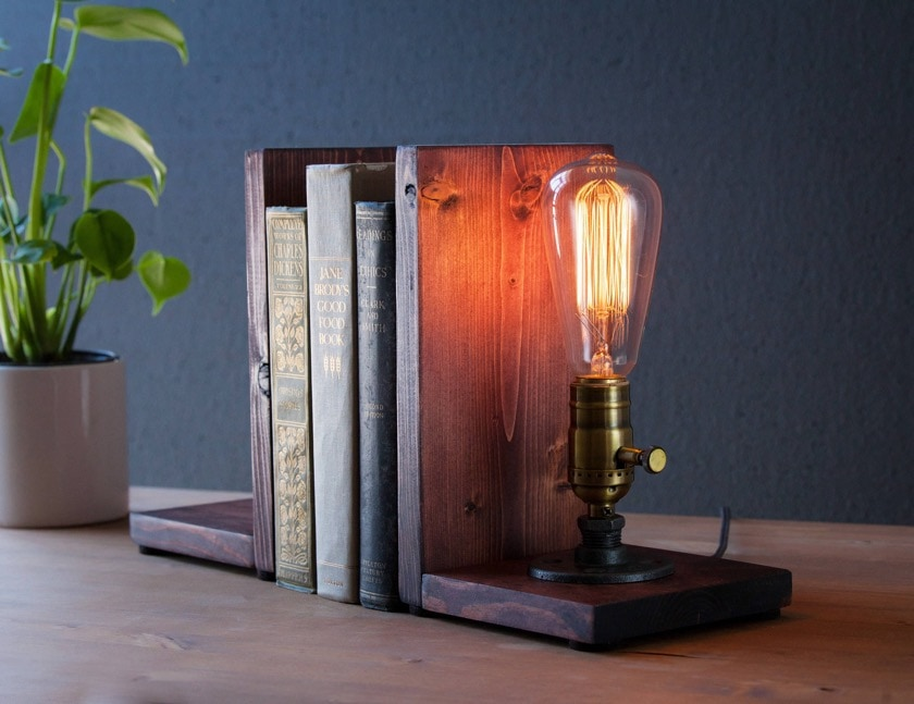 Steampunk bookend lamp