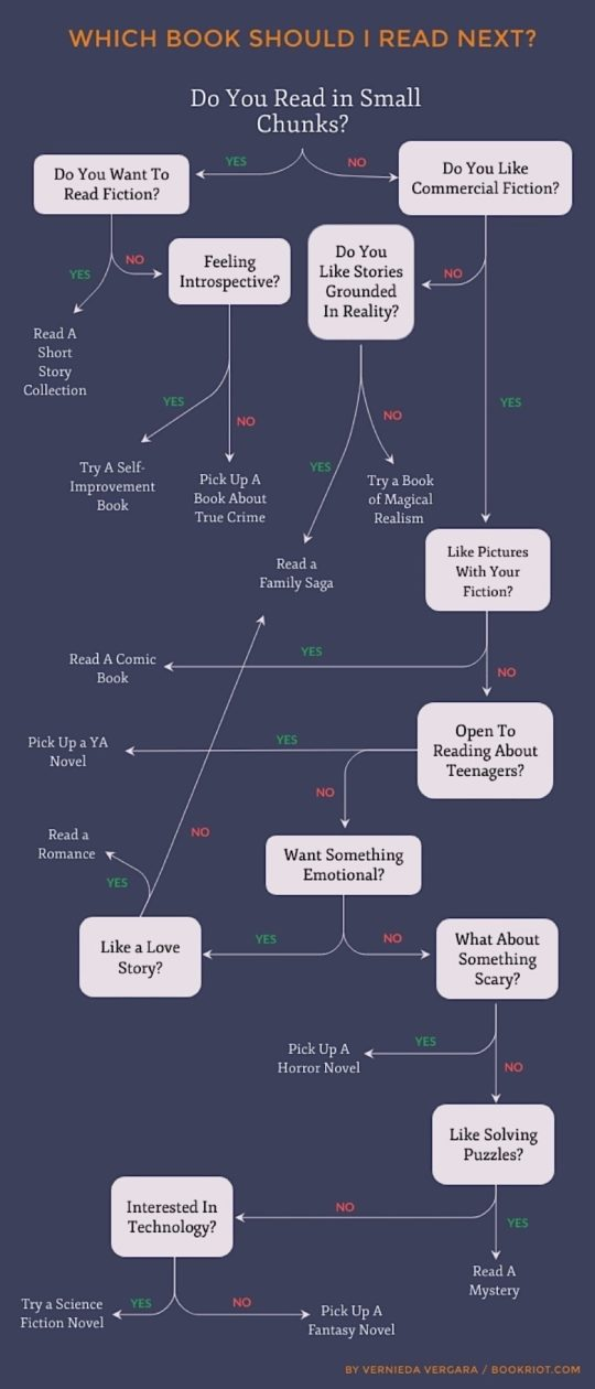 Which book should I read next - Book Riot flowchart for busy readers