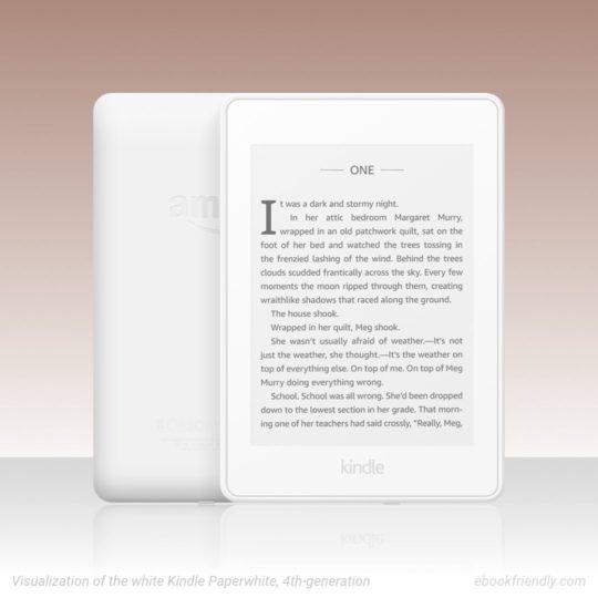 White Kindle Paperwhite 4 - visualization by Piotr Kowalczyk / Ebook Friendly