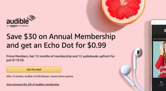 Audible annual membership deal for Prime members June 2019
