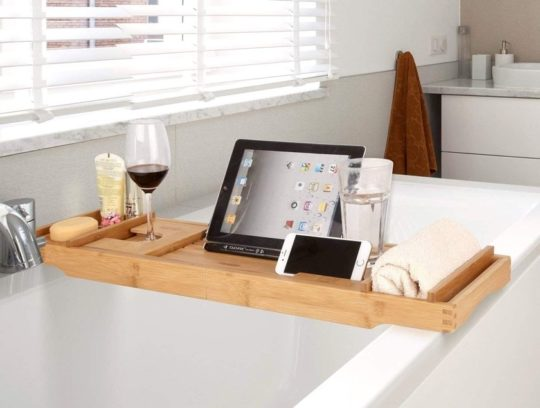 Bamboo bathtub table with iPad stand