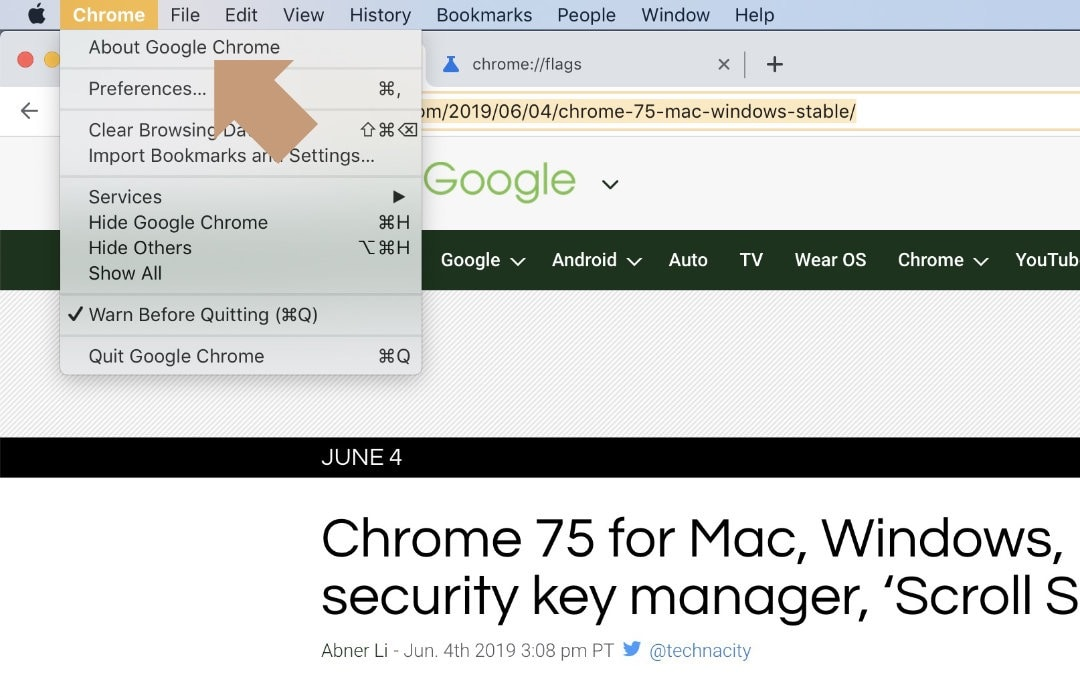 How to check out a current version of Google Chrome for Mac