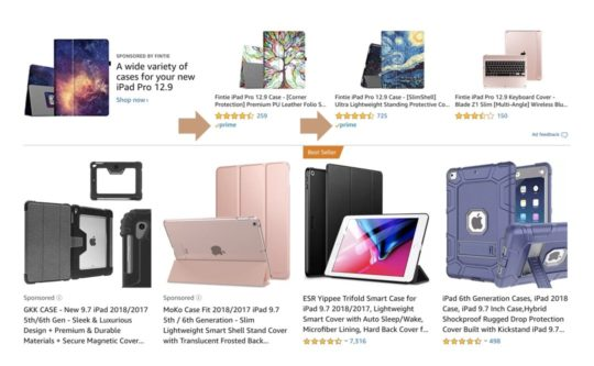 Find Prime eligible items for iPad on Amazon - see Prime logo in search results
