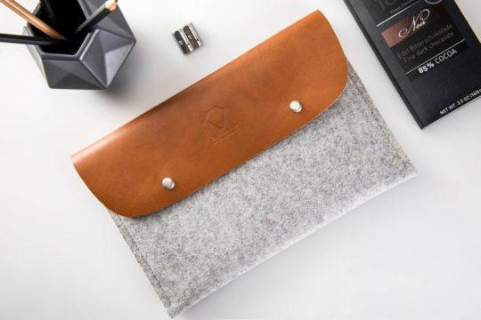 Genuine leather and felt iPad Air sleeve