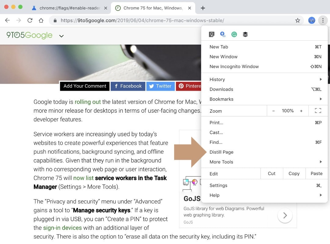 Google Chrome for Mac - use Reader Mode on any website