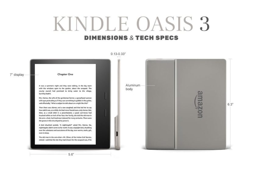 Kindle Oasis 3 2019 - dimensions and tech specs