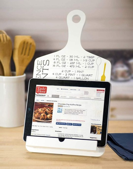Kitchen iPad stand with cookbook measurements