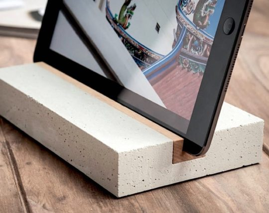 Minimalist concrete iPad stand