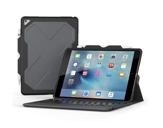 Rugged messenger iPad Air keyboard case with Apple Pencil holder