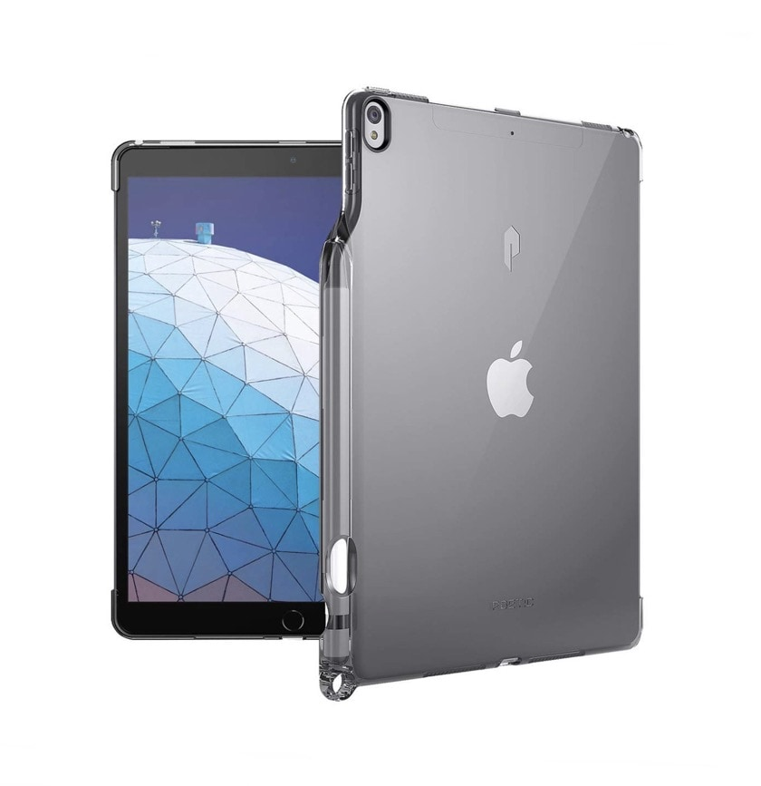 Transparent back shell iPad Air 2019 case with Apple Pencil holder