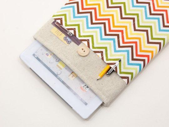 White linen chevron Apple iPad mini sleeve
