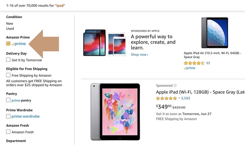 iPad on Amazon - narrow search to see only Prime eligible products