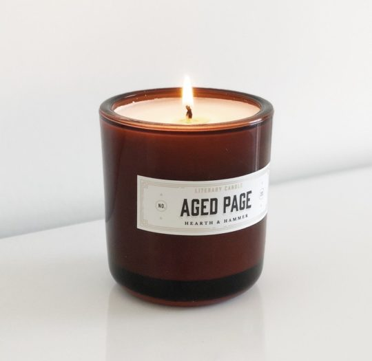 Aged Page scented candle - gifts for audiobook lovers