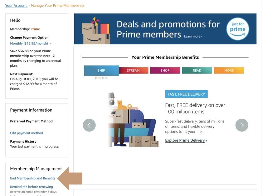 How to cancel Amazon Prime - find End Membership setting