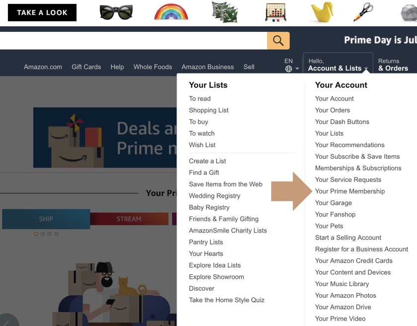 How to cancel Amazon Prime - find Prime subscription settings page
