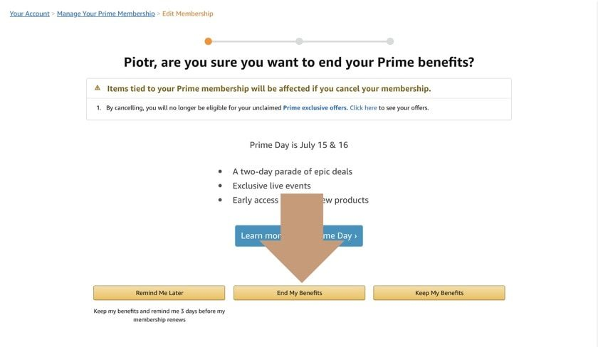 How to cancel Amazon Prime membership - step 1