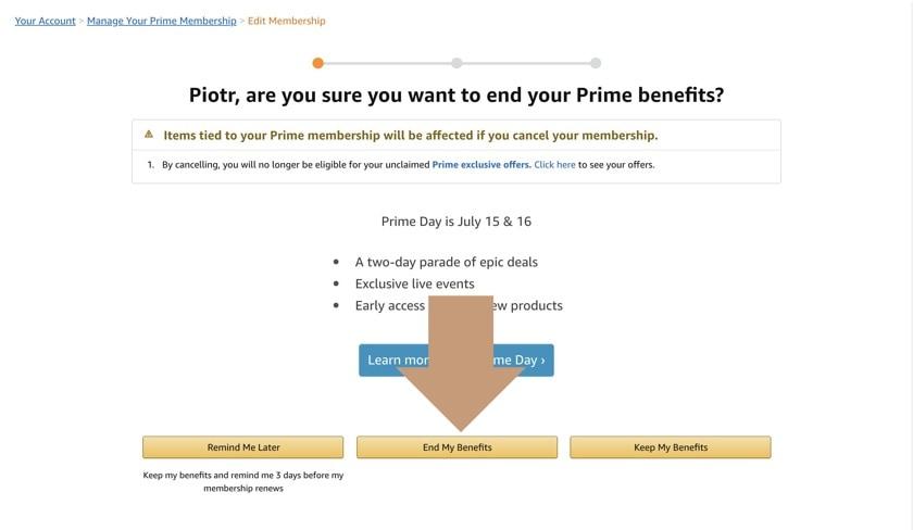 How to cancel Amazon Prime membership - step 1