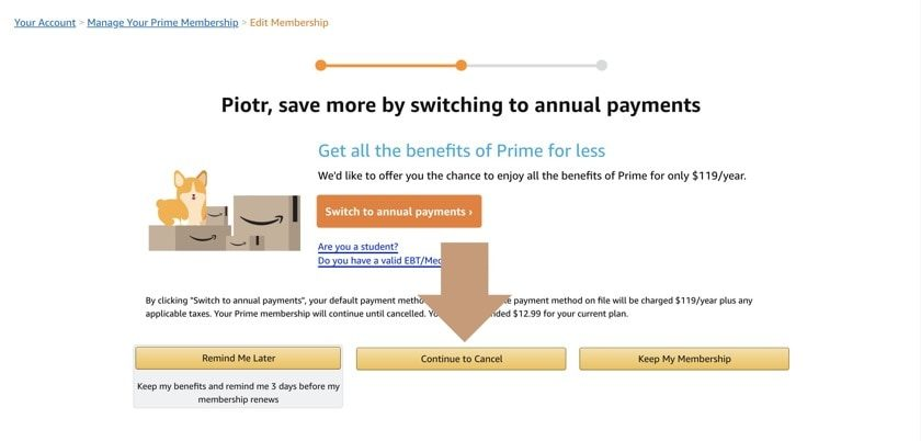 How to cancel Amazon Prime membership - step 2