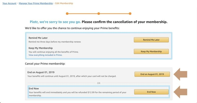 How to successfully cancel Amazon Prime subscription