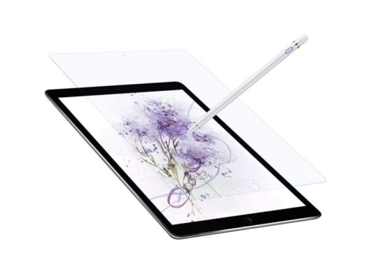 Paper-like screen protector with Apple Pencil compatibility