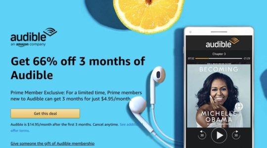 Prime Day 2019 deal - save on three months of Audible membership