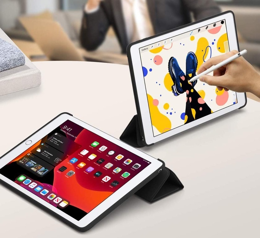 Affordable tri-fold iPad 10.2 stand case - viewing and typing positions