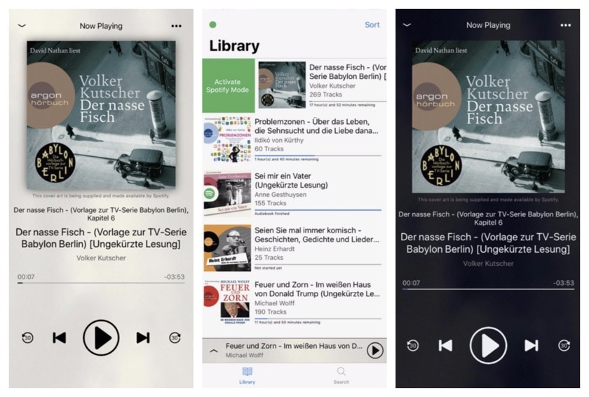 Eary app for listening Spotify audiobooks on iPad and iPhone