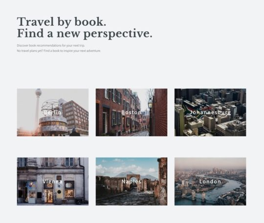Reading the City book recommendation tool - front page