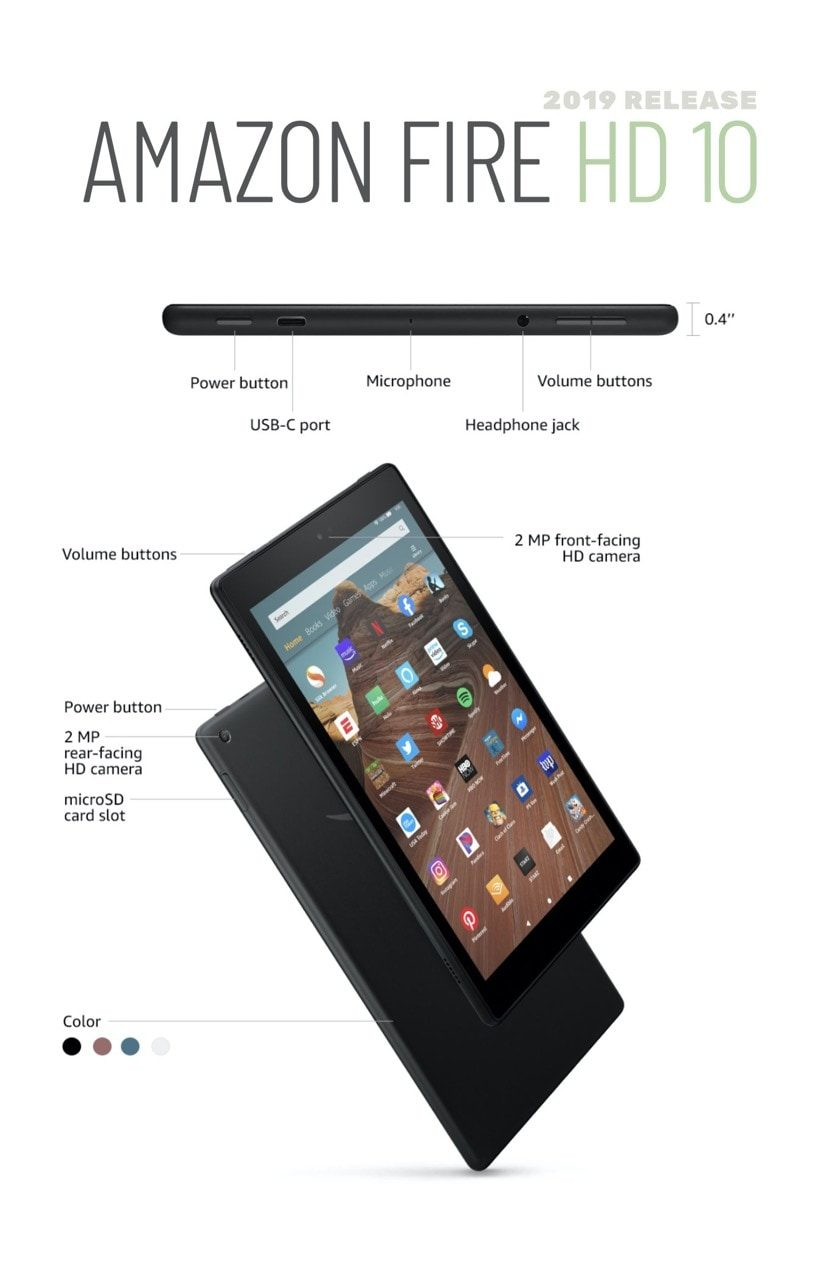 Amazon Fire HD 10 2019 model ports and buttons