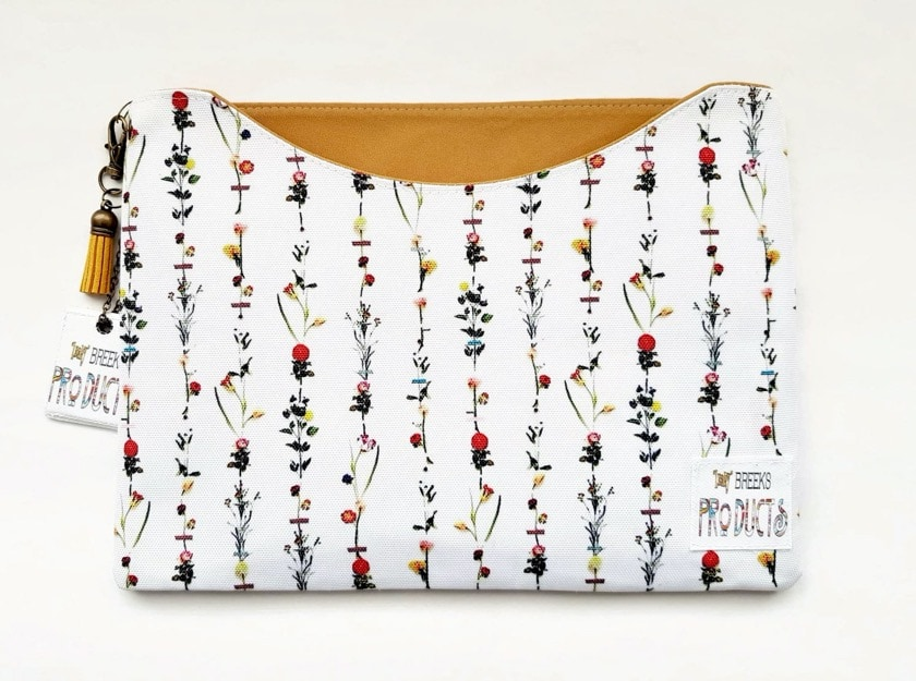 Custom handmade fabric iPad Air 2019 sleeve with floral pattern