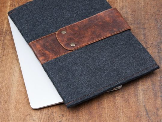 Genuine leather and felt sleeve for Amazon Fire 10""