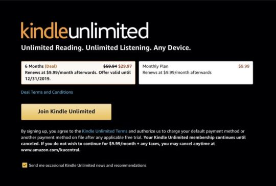 6-month Kindle Unlimited plan is 50% off