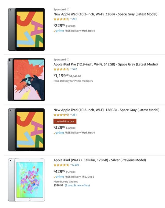 Apple iPad price cuts on Amazon during Black Friday