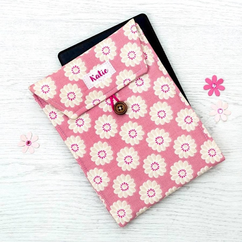 Beautiful padded Kindle sleeve with personalized cotton emblem