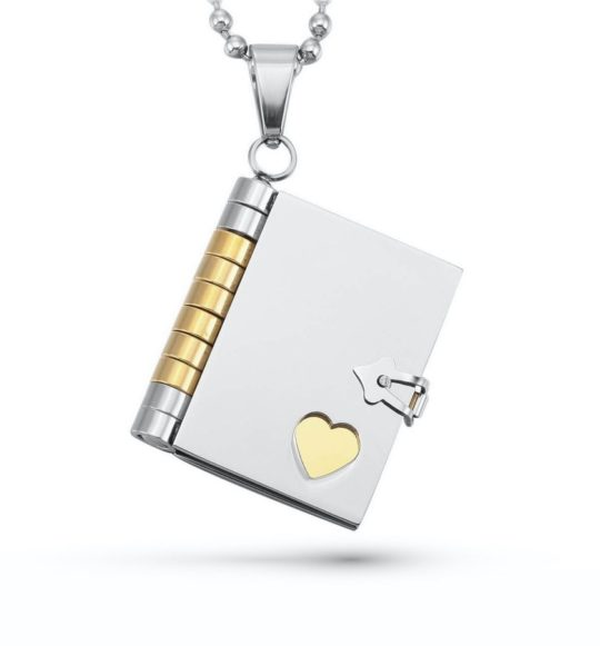 Book pendant with custom engraving - best gifts