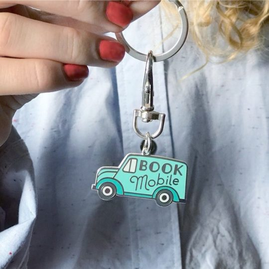Bookmobile keychain - gifts for teachers, librarians, and book lovers