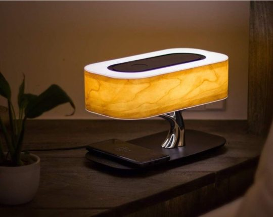 Exclusive desk lamp with Bluetooth speaker and wireless charger