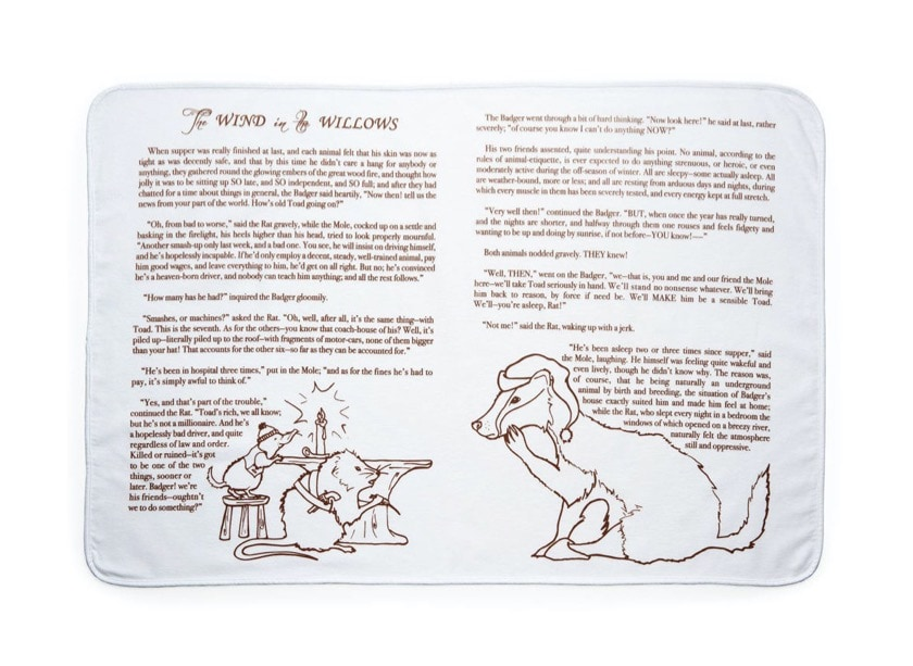 Gift for book loving kids - The Wind in the Willows blanket