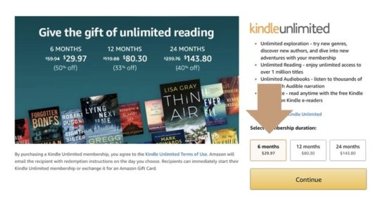 Huge deal on 6-month Kindle Unlimited gift plan - end of 2019